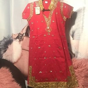 Dresses & Skirts - Tunic from India red & gold stones embroiled